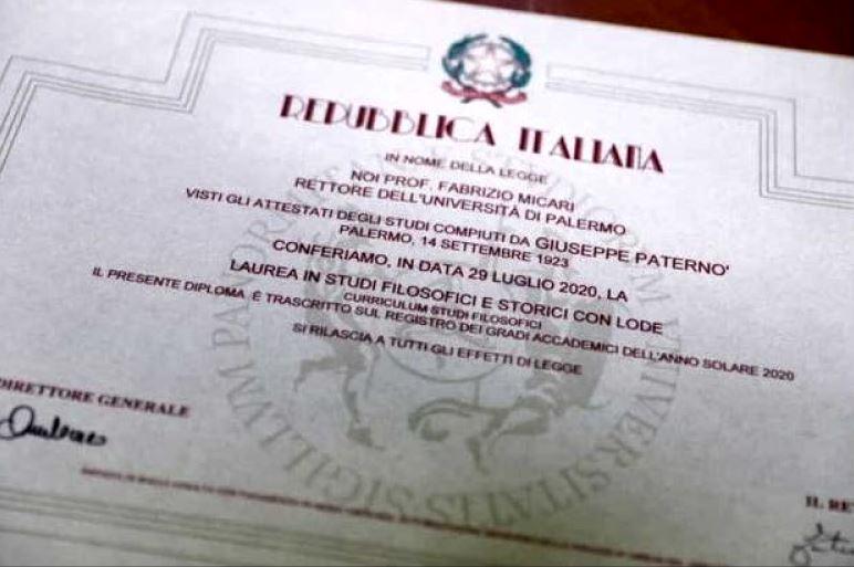 Diploma obtinuta de Giuseppe Paterno.